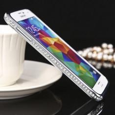 Bumper cristale aluminiu silver argintiu Samsung Galaxy S5 i9600 G900 + folie - Bumper Telefon