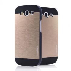 Husa aurie MOTOMO aluminiu+plastic Samsung Galaxy S3 i9300 + folie si cablu - Husa Telefon Samsung, Auriu, Metal / Aluminiu