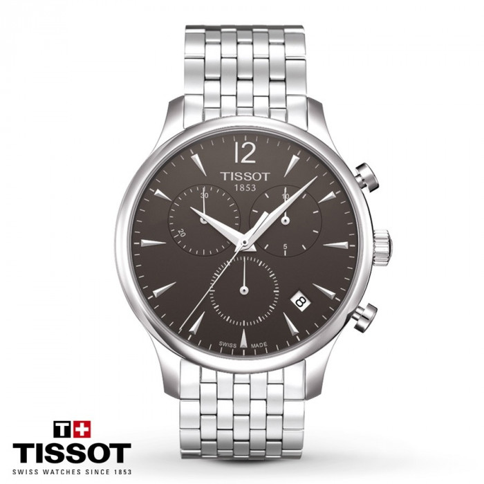 Ceas Tissot Tradition Swiss Dark Gray Chronograph foto mare