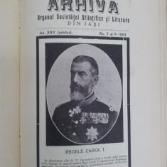 ARHIVA ORGANUL SOCIETĂŢII ŞTIINŢIFICE ŞI LITERARE DIN IAŞI VOLUM JUBILIAR 1914 - Carte veche