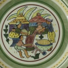 Farfurie - pictata manual cu marcaj - Rural Life / ZIMBABWE / G. Chikara !!!!! - Arta Ceramica