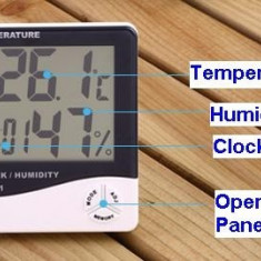 Ceas cu Termometru si umiditate cu ecran LCD - Aparat monitorizare