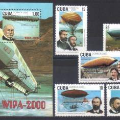 CUBA 2000, Dirijabile, serie neuzata, MNH - Timbre straine, Aviatie, Nestampilat