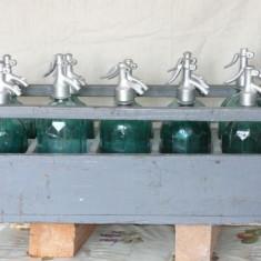 10 sticle sifon modelul vechi in stare perfect + lada originala ! Raritate - Arta din Sticla