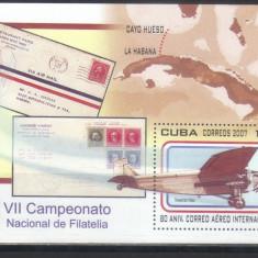 CUBA 2007, Aviatie, timbru pe timbru, serie neuzata, MNH - Timbre straine, Nestampilat