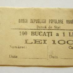 V907 BANDEROLA BANCNOTE 1 LEU 1952 RPR BANCA DE STAT - Bancnota romaneasca