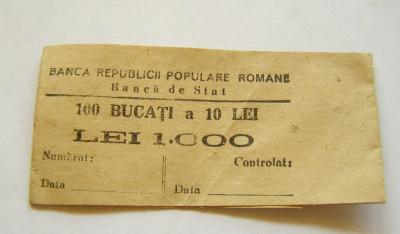v913 BANDEROLA BANCNOTE 10 LEI 1952 RPR BANCA DE STAT foto