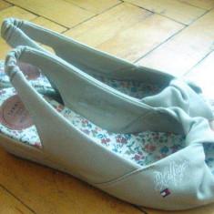 Sandale Tommy Hilfiger crem deschis - Sandale dama Tommy Hilfiger, Marime: 37, Textil
