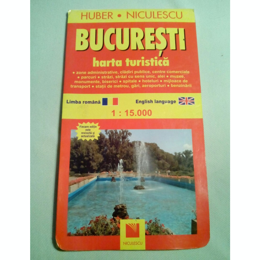 Harta Bucuresti Turistica Si Rutiera Scara 1 15000 In Limba