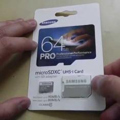 SAMSUNG 64GB PRO microSDXCC UHS-I CARD cu adapter, 10 ANI GARANTIE, FACTURA - Card memorie