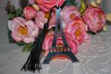 Marturii botez semn de carte model Turnul Eiffel, marturie metal metalica