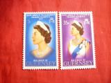 Serie 25 Ani -Regina Elisabeta II 1972 Guernsey ,2 val.