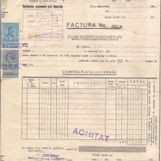 % factura cu antet -UNIREA anul 1937 - Pasaport/Document