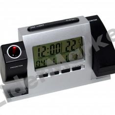 Ceas de camera cu proiectie dubla, alarma si statie meteo de interior