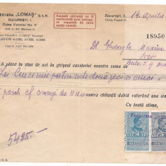 % chitanta cu antet -FORESTA LOMAS s.a.r. anul 1938 - Pasaport/Document