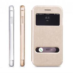 Husa bumper 2in1 piele + aluminiu HOCO IPHONE 6 cu view SMART COVER, SILVER, GOLD - Husa Telefon Hoco, Auriu, Piele Ecologica