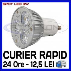 SPOT LED MR16, GU10, E14, E27 - 3W EPISTAR - ECHIVALENT 30W - ALB RECE SAU CALD - Bec ZDM, Spoturi