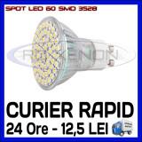 SPOT LED MR16, GU10, E14, E27 - 60 SMD 3528 - ECHIVALENT 30W - ALB RECE SAU CALD