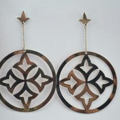 Cercei argint candelabru, model baroc, design retro fleur de lis, statement