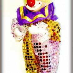 Arlechin / Clown - papusa mecanica - music box cu cheita - Jucarie de colectie