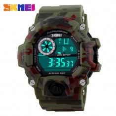 Ceas Casual MILITARY ARMY Subacvatic SKMEI S-Shock Camouflage Rosu/Verde - Ceas barbatesc, Quartz, Carbon, Cauciuc, Rezistent la apa