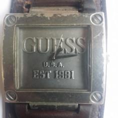 Ceas Guess USA Est 1981 original, curea piele naturala autentica! - Ceas barbatesc Guess, Fashion, Quartz, Inox, Rezistent la apa