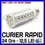 BEC LED E14, E27 - 44 SMD 5050 - ECHIVALENT 50W - ALB CALD, ALB RECE - 220V, ZDM