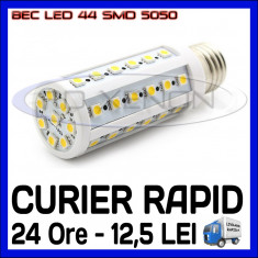 BEC LED E14, E27 - 44 SMD 5050 - ECHIVALENT 50W - ALB CALD, ALB RECE - 220V ZDM