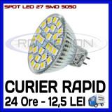 SPOT LED MR16, GU10, E14, E27 - 27 SMD 5050 - ECHIVALENT 30W - ALB RECE SAU CALD, ZDM