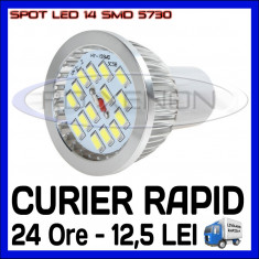 SPOT LED MR16, GU10, E14, E27 - 14 SMD 5730 - ECHIVALENT 50W - ALB RECE SAU CALD - Bec ZDM, Becuri LED, Rece (4100 - 4999 K)