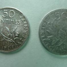 FRANTA - 50 CENTIMES 1898 - ARGINT - LOT DE 2 BUC