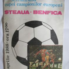 PROGRAM MECI STEAUA-BENFICA SEMIFINALA C.C.E.  6 APRILIE 1988