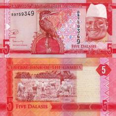 GAMBIA 5 dalasis 2015 UNC!!! - bancnota africa