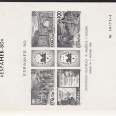 SPANIA 1980 EXPOSICION FILATELICA, BL NUMEROTAT - LOT 2 ST - Timbre straine