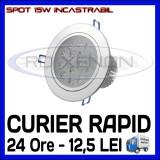 SPOT LED INCASTRABIL - 15W EPISTAR - ECHIVALENT 120W - ALB RECE SAU CALD, Becuri LED, Rece (4100 - 4999 K), ZDM