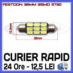BEC AUTO LED LEDURI - SOFIT FESTOON C5W 36 mm 9 SMD 5730 CANBUS FARA EROARE - Led auto ZDM, Universal