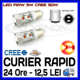 BEC AUTO LED LEDURI P21W 5W BAY15D DUBLU FILAMENT - 50W CREE STOP POZITIE FRANA, Universal, ZDM