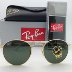 Ochelari Ray Ban Round Metal RB3447 001 Originali - Ochelari de soare Ray Ban, Unisex, Verde, Rotunzi, Protectie UV 100%