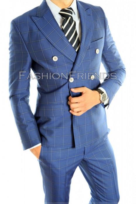 Costum tip ZARA- sacou + pantaloni - costum barbati carouri - 4601 foto mare