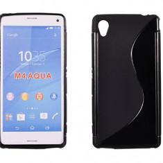 Husa Sony Xperia M4 Aqua TPU S-LINE Black - Husa Telefon Sony, Negru, Gel TPU, Fara snur, Carcasa