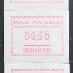 PAPUA NOUA GUINEE - TIMBRE DE AUTOMAT, 3 VALORI, NEOBLITERATE - PNG 061 - Timbru de Automat