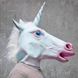 Masca latex Inorog Unicorn petrecere Halloween tematica costum cosplay +CADOU - Masca carnaval, Marime: Marime universala, Culoare: Din imagine