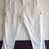 Pantaloni casual albi dama - Pantaloni dama, Marime: 38, Lungi, Bumbac