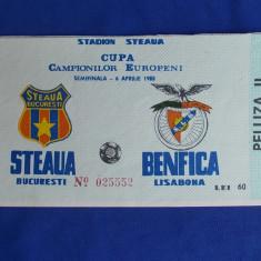 BILET MECI FOTBAL / STEAUA-BENFICA / SEMIFINALA C.C.E. - 6 APRILIE 1988