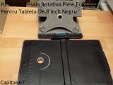 Husa Universala Rotativa Piele Ecologica Pentru Tableta De 8 Inch Negru