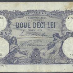 ROMANIA 20 LEI 19 septembrie 1929 [2] VF - Bancnota romaneasca