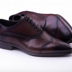 Pantofi Oxford Brogue Oferta - Pantof barbat, Marime: 40, 41, 42, 43, 44, 45, Culoare: Maro, Piele naturala