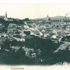 2821 - Bucovina, CERNAUTI, Synagogue - Double old postcard - used - Carte Postala Bucovina pana la 1904, Necirculata, Printata