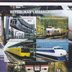 Transporturi, trenuri, locomotive, Madagascar. - Timbre straine, Nestampilat