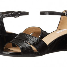 Sandale GEOX Respira, piele naturala lacuita, marimea 39 - Sandale dama Geox, Culoare: Negru